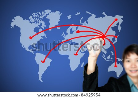 asian business women drawing a network