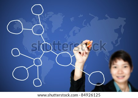 asian business women drawing a network - stock photo
