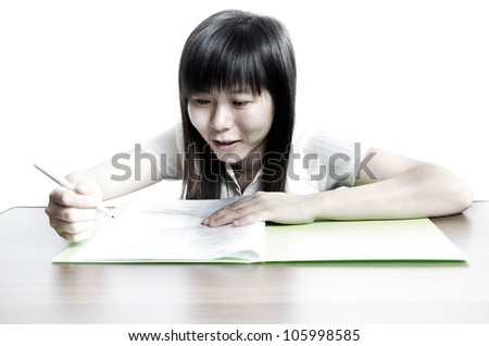 Asian business women endorse on paper contract - stock photo