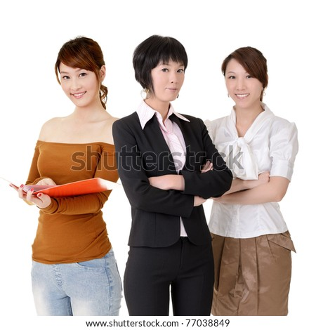 Asian business women team with happy smiling expression on face, half length closeup portrait on white background.