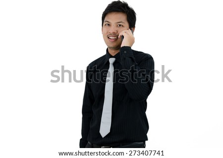 Asian Businessman calling a telephone over white background.  - stock photo