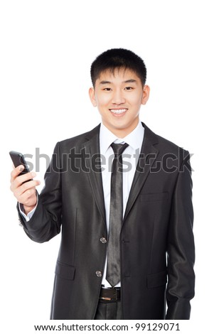 Asian businessman displaying mobile phone happy smile looking at camera, isolated on white background