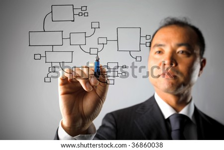 asian businessman drawing business system - stock photo