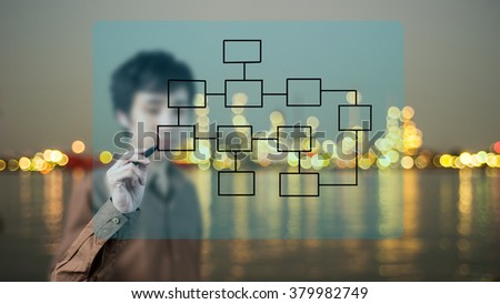 Asian businessman drawing diagram on whiteboard - stock photo