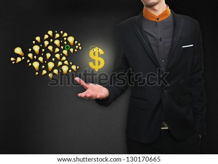 Asian businessman giving bulb with Dollar icon ; business concept