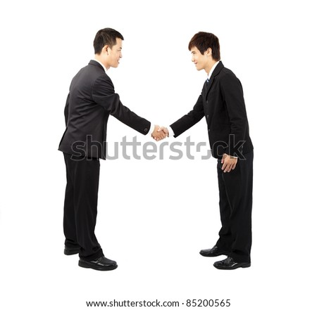 asian businessman hand shake and bow - stock photo