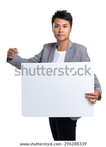 Asian businessman hold with white poster
