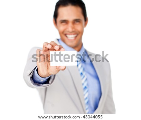 Asian businessman holding a white card isolated on a white background