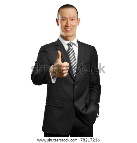 asian businessman in black suit shows well done against different backgrounds