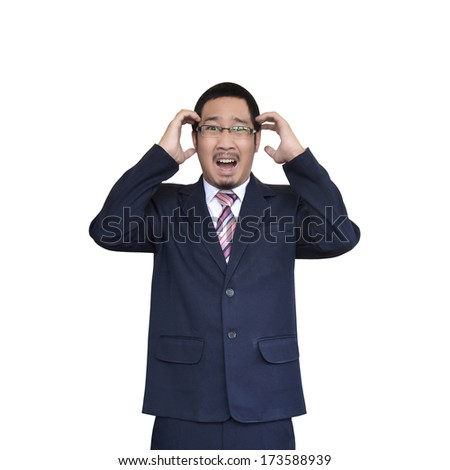 asian businessman making angry gestures - stock photo