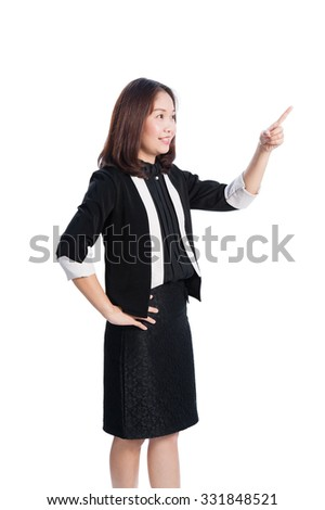 Asian Businessman pointing on white background