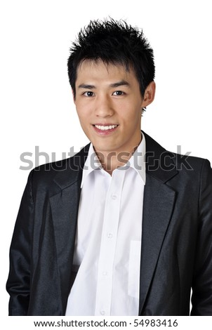 Asian businessman portrait with smiling face on white background. - stock photo