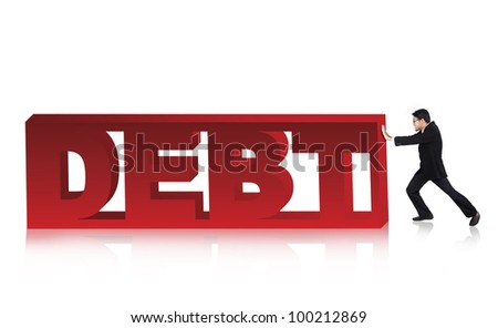 Asian businessman pushing a large version of the word Debt on white background - stock photo