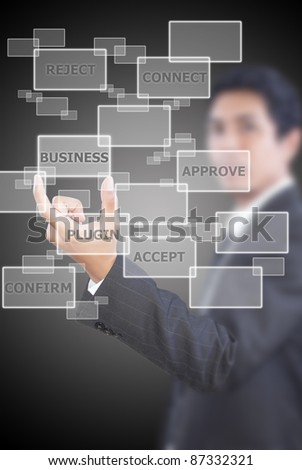 Asian  businessman putting business word for business concept.