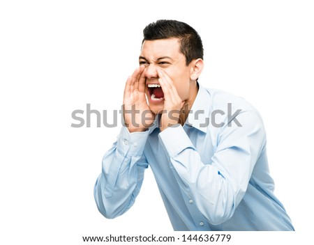 asian businessman shouting angry