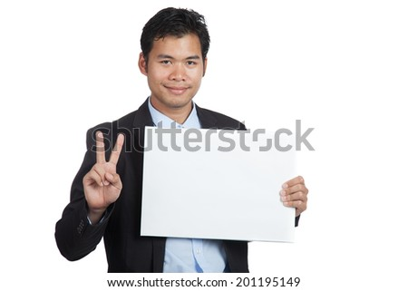 Asian businessman show victory sign with blank sign isolated on white background