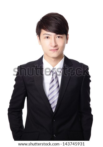 asian businessman smile face closeup isolated on white background - stock photo
