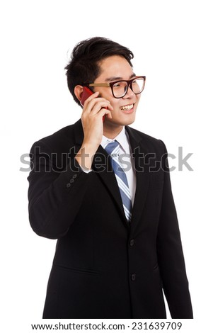 Asian businessman smile  talk on mobile phone  isolated on white background