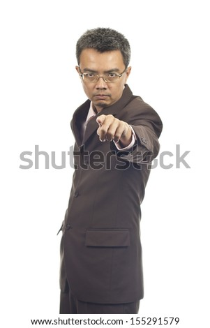 Asian businessman standing on white background
