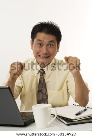 Asian businessman stressed out and frustrated - stock photo