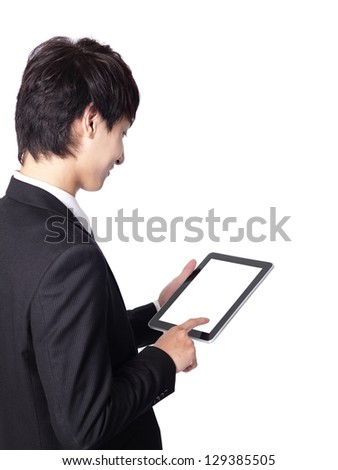 asian businessman using tablet pc ,a close-up shot on touch pad, empty screen is great for your design - stock photo