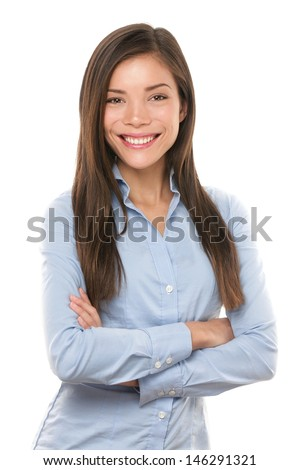 Asian businesswoman. Casual portrait of beautiful confident multi-ethnic Asian Chinese / Caucasian female businessperson smiling isolated on white background in studio. Young professional in her 20s. - stock photo