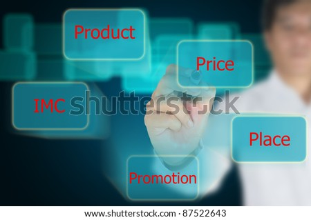 Asian businesswoman doing marketing mix for business - stock photo