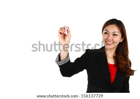 Asian businesswoman drawing graph, isolated on white background in suit. - stock photo