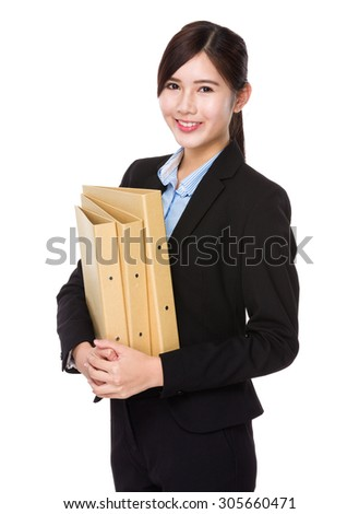 Asian businesswoman hold with folder - stock photo
