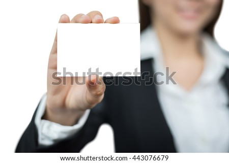Asian businesswoman holding a blank business card isolated on white background with clipping path.