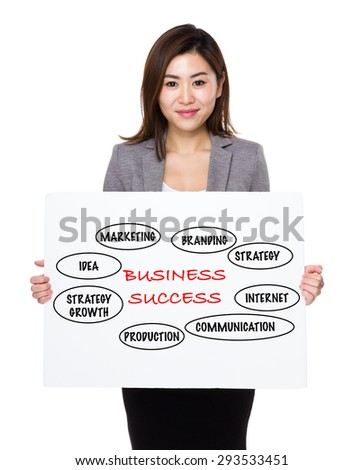 Asian businesswoman holding a poster presenting business success concept - stock photo
