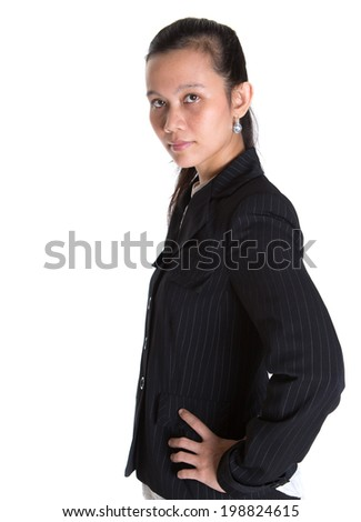 Asian businesswoman in a black suit over white background