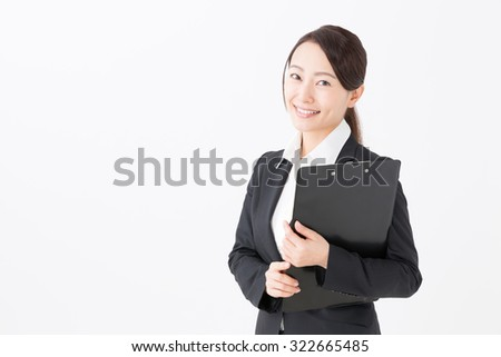 asian businesswoman isolated on white background