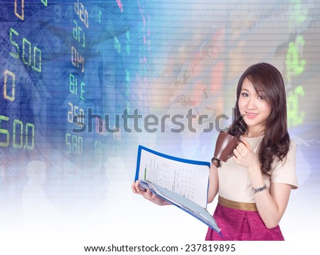 asian businesswoman or stock broker ,hold coffee and the file handle. has stock exchange graph background