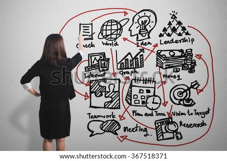 Asian Businesswoman pointing at business concept success chart graph on wall background - stock photo