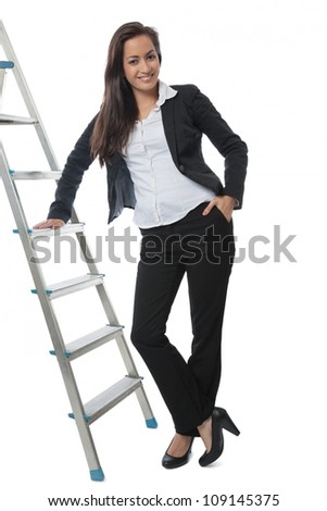Asian Businesswoman presenting metal ladder isolated on white - stock photo