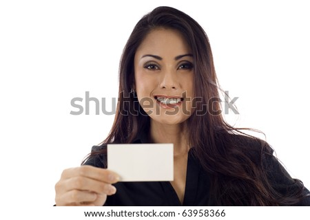 Asian businesswoman showing and handing a blank business card isolated over white background - stock photo