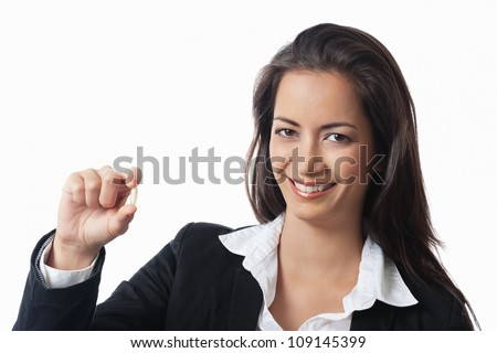 Asian Businesswoman showing medicine on white background - stock photo