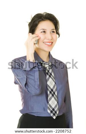 Asian businesswoman talking on the phone - stock photo