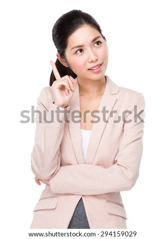 Asian Businesswoman think of the idea - stock photo