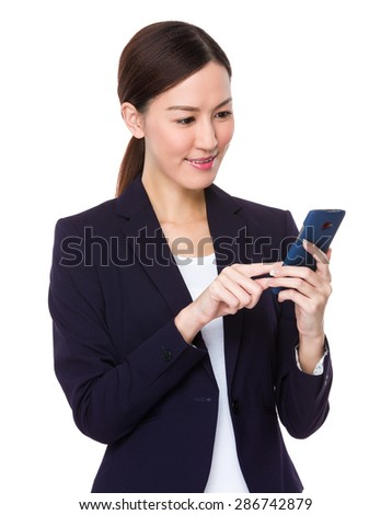 Asian businesswoman touch on the phone