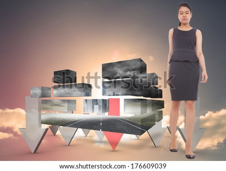 Asian businesswoman walking against red and grey arrows pointing against sky - stock photo