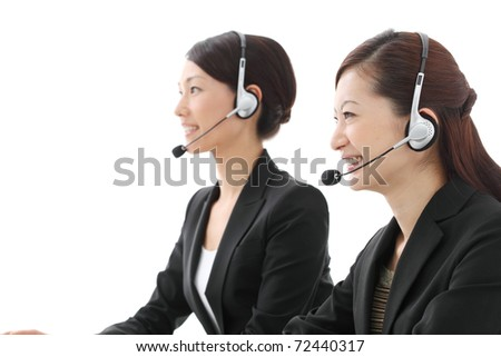 asian businesswoman with headset