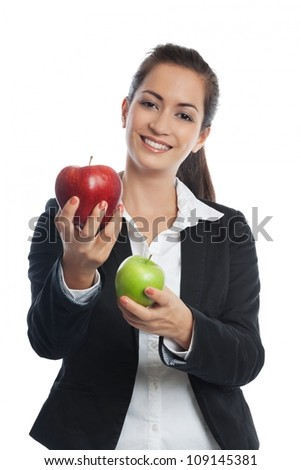 Asian Businesswoman with red and green apple isolated on white - stock photo