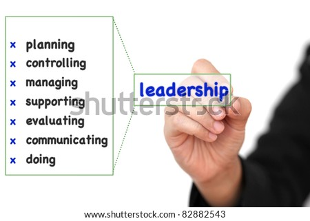 asian businesswoman writing business leadership concept list - stock photo