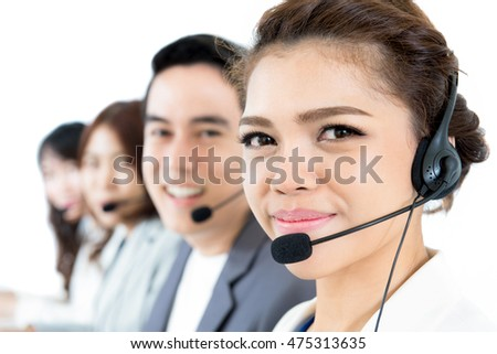 Asian call center (or telemarketer) team