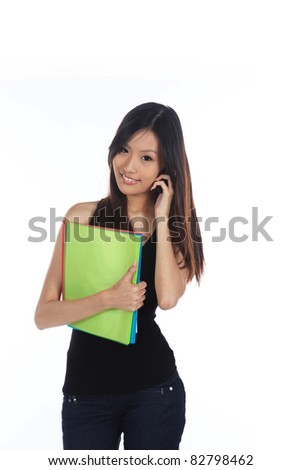 Asian Career Woman From The Office Isolated - stock photo
