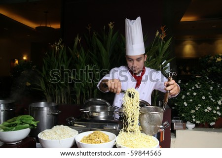 asian chef - stock photo