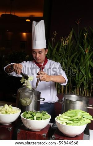 asian chef - stock photo