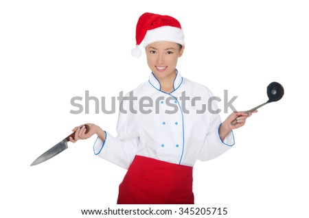 Asian chef in christmas cap with container isolated on white - stock photo